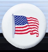 Adco 27in White w/US Flag Vinyl Spare Tire Cover AD1787